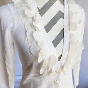 Nine West Cream Rib Knit Ruffled Front Cardigan